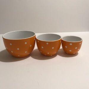 3 orange Polka Dot stacking Serving cooking Bowls